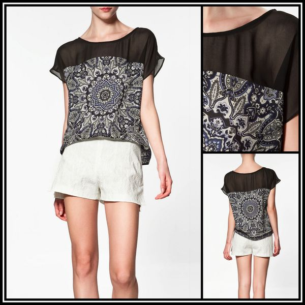 imprimé foulard 2012 - Blouse top Zara