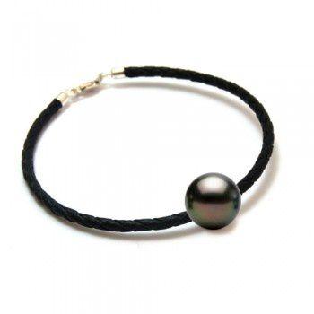 bracelet-cuir-noir-tresse