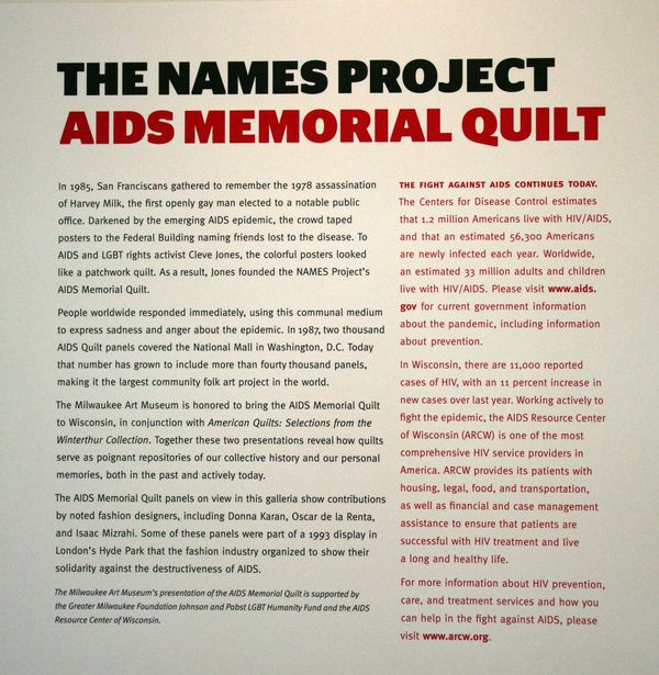Milwaukee (WIS) Art Museum, The names project AIDS memorial Quilt