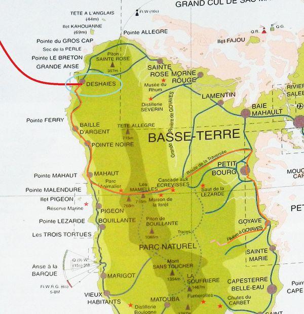 Carte Guadeloupe BT Treck Moreau