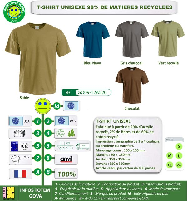 T Shirt unisexe recycle GOVA GO09 12A520