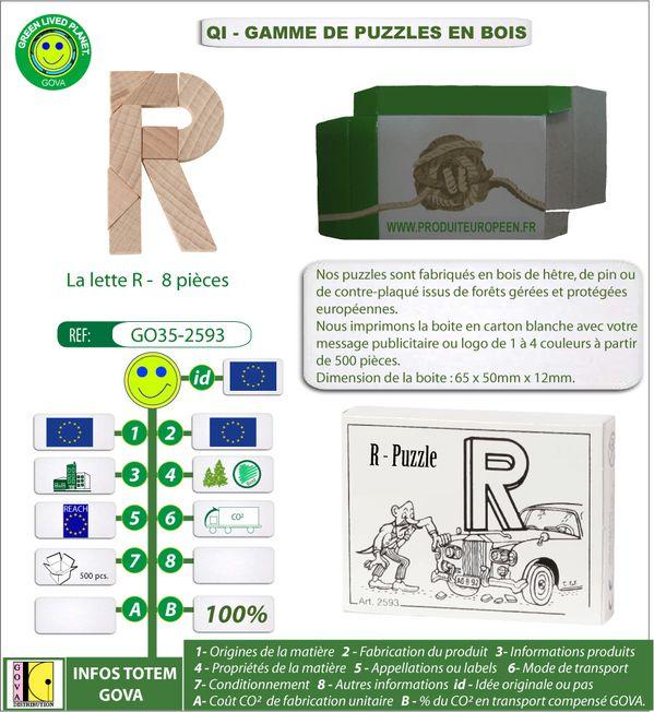 Puzzle en bois lettre R 8 pieces dans une boite publicitair