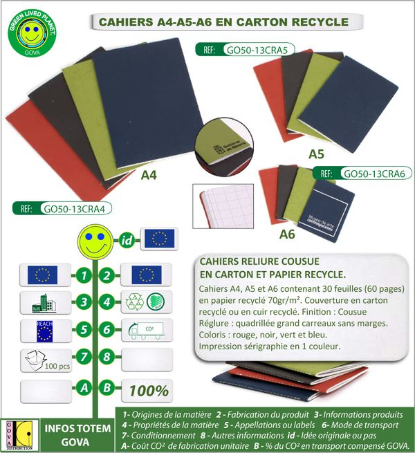 Cahiers A4 A5 A6 en carton recycle fabrication europe ref G