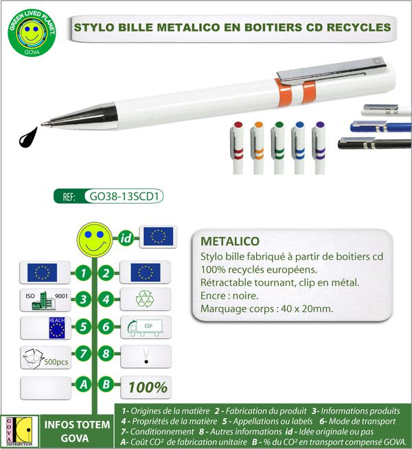 Stylo bille Metalico en boitier cd recycle europe ref GOVA