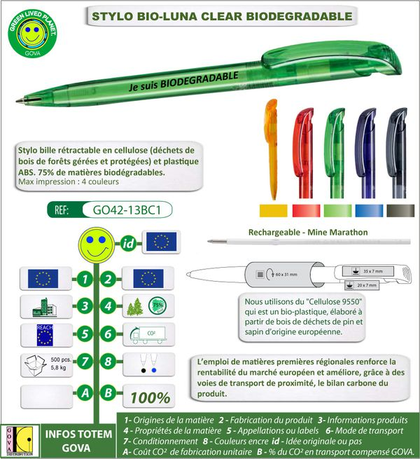 Stylo bille europeen biodegradable en cellulose de bois BIO