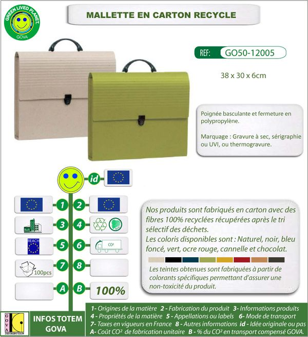 Mallette en carton recycle 38x30x6cm ref GO50 12005