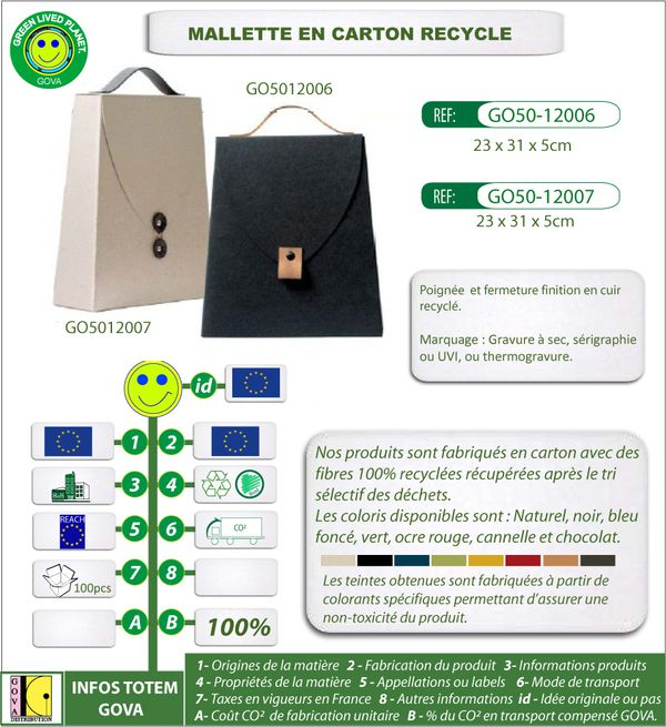 Mallette en carton recycle finition cuir ref GO50 12006-120