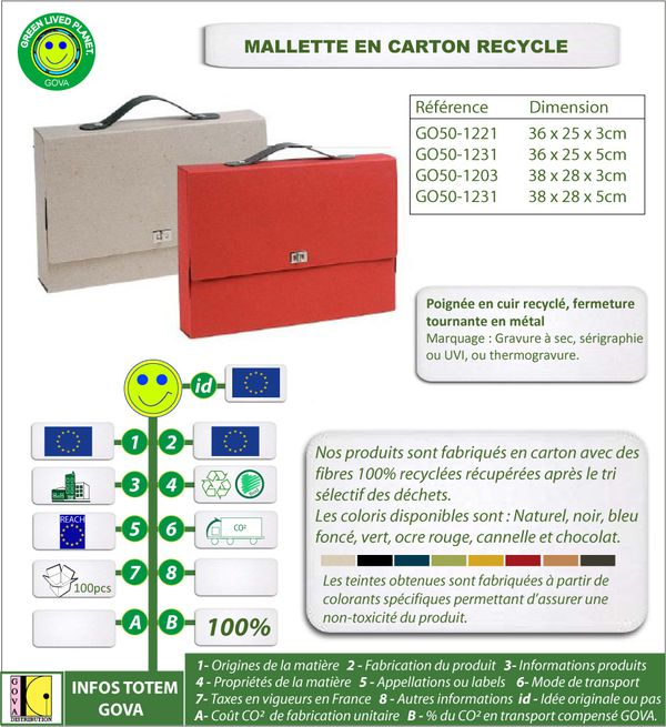 Porte document en carton fermeture en metal ref GO50 1221NC