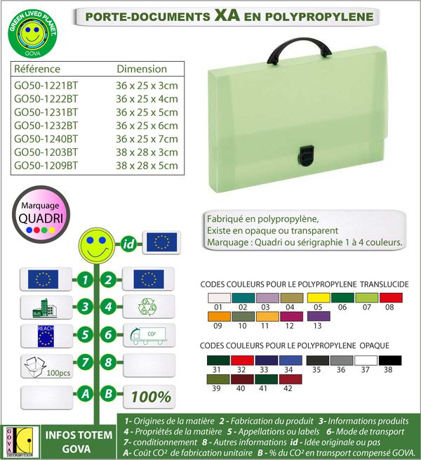 Porte document XA en polypro ref GO50 1221BT