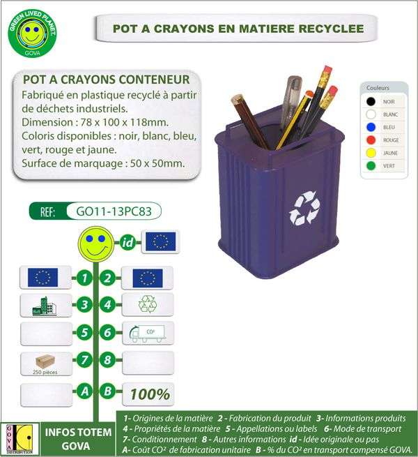 Pot a crayon conteneur en plastique recycle ref GO11 13PC83