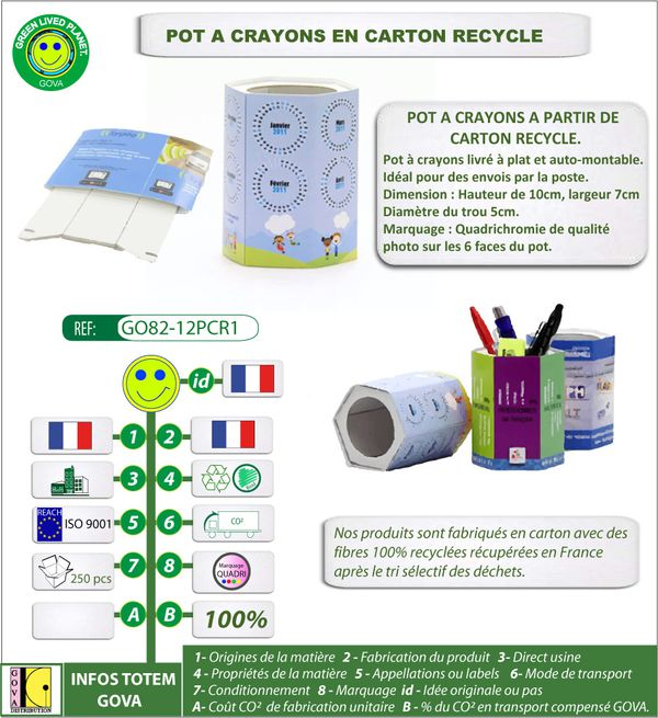 pot a crayons en carton recycle GO82-12PCR1