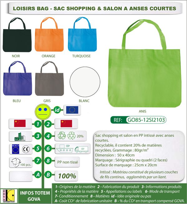 Sac shopping intisse loisirsbag 50x40cm
