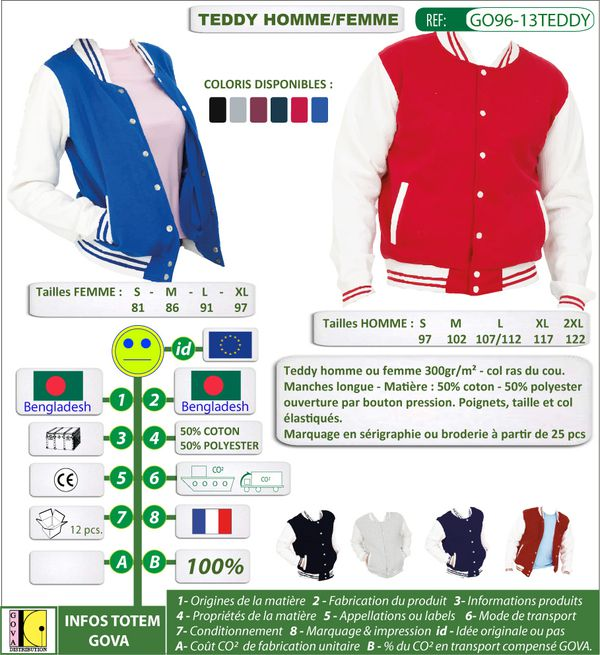 Veste Teddy coton polyester personnalisee ref GO96 13TEDDY