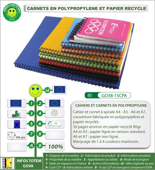 Carnet publicitaire en polypro recycle GO38 15CPA