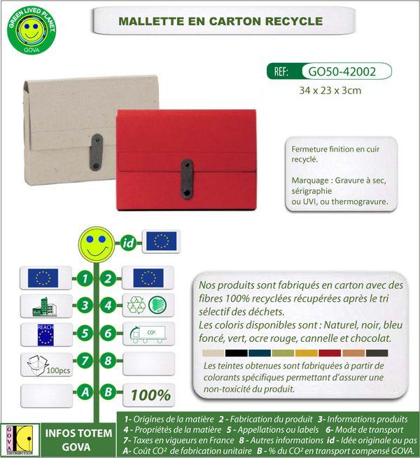 Mallette en carton recycle sans poignee ref 42002