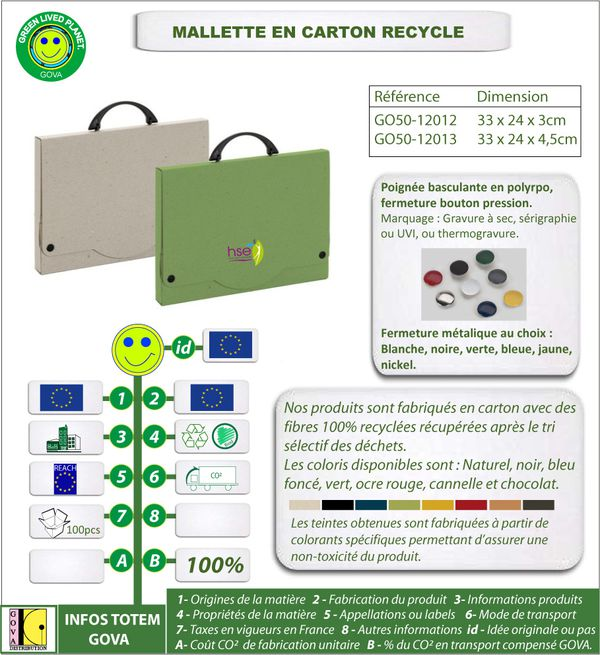 Mallette en carton recycle ref 12012-12013