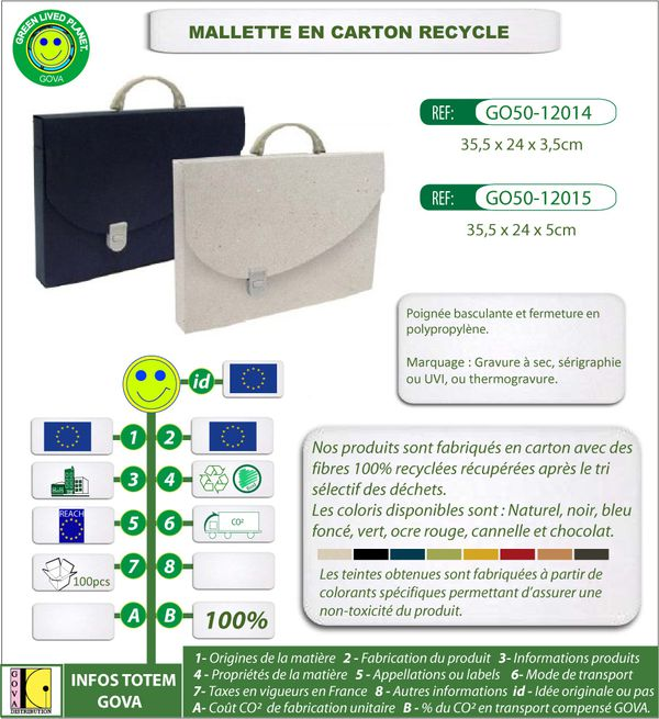 Mallette en carton recycle ref 12014-12015