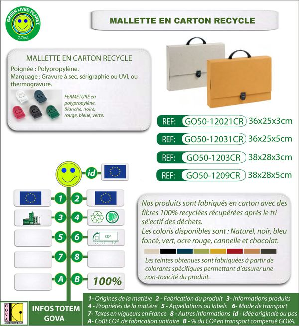 Mallette en carton recycle ref 12021CR