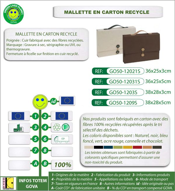 Mallette en carton recycle ref 12021S