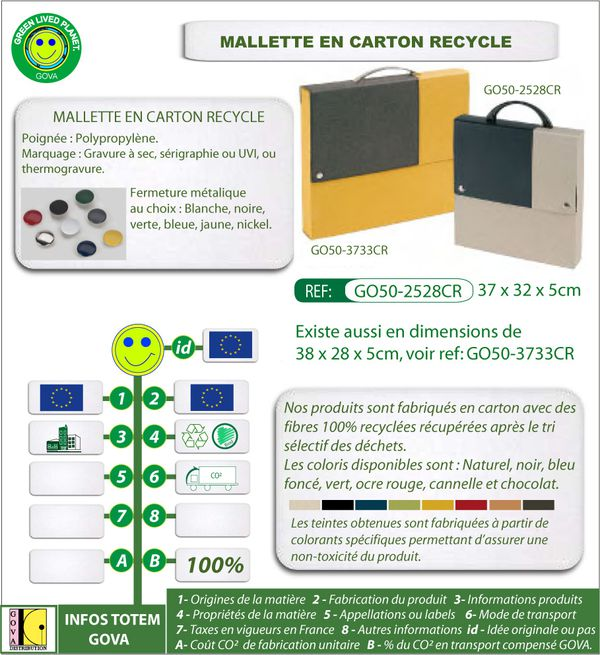 Mallette en carton recycle ref 2528CR