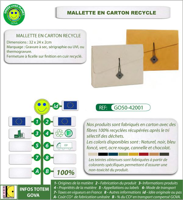 Mallette en carton recycle ref 42001