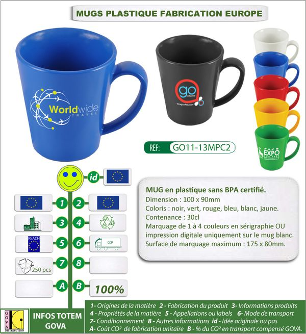 Mug 30cl en plastique fabrication europe GO11-13MPC2