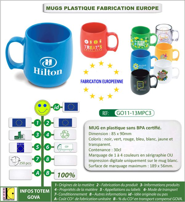 Mug 30cl fabrique en plastique fabrication europe GO11-13MP