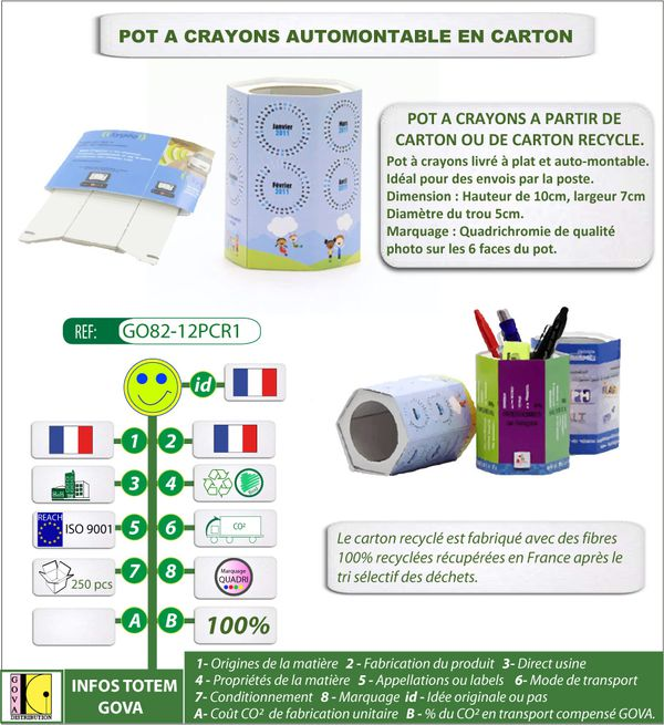 Pot a crayons auto-montable publicitaire made in France