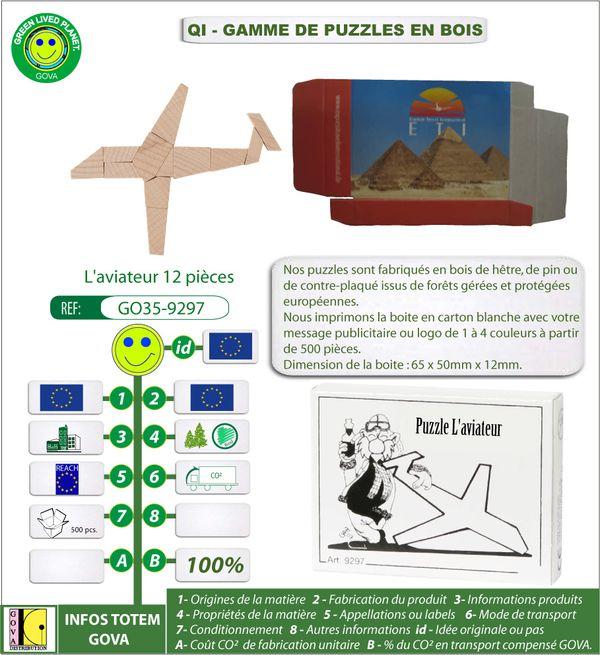 Puzzle en bois aviateur 12 pieces dans une boite publicitai