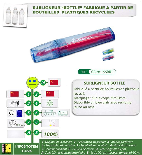 Surligneur Bottle en bouteille plastique recyclee GO38 15SB