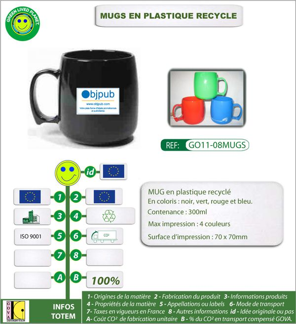 Mugs en plastique 300ml recycle fabrication europe ref GO11