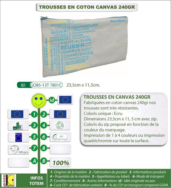 Trousse en coton canvas 240gr personnalisable fab europe GO