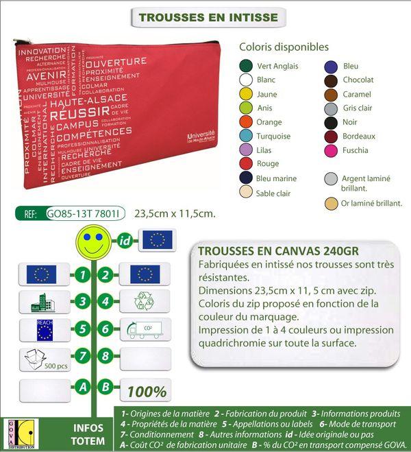 Trousses personnalisees en intisse fabrication europeenne G