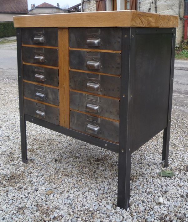 meuble atelier 10 tiroirs bois metal 1950 mettetal. Black Bedroom Furniture Sets. Home Design Ideas