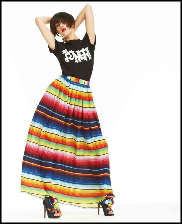 Jupe longue mexicaine maxi skirt  rayures House of Hollan