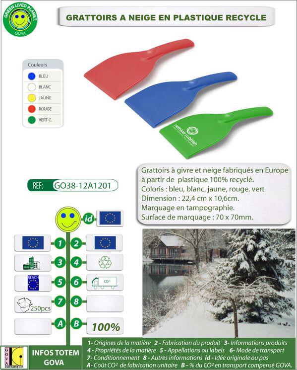 Grattoir a givre en plastique recycle fabrication europeenn