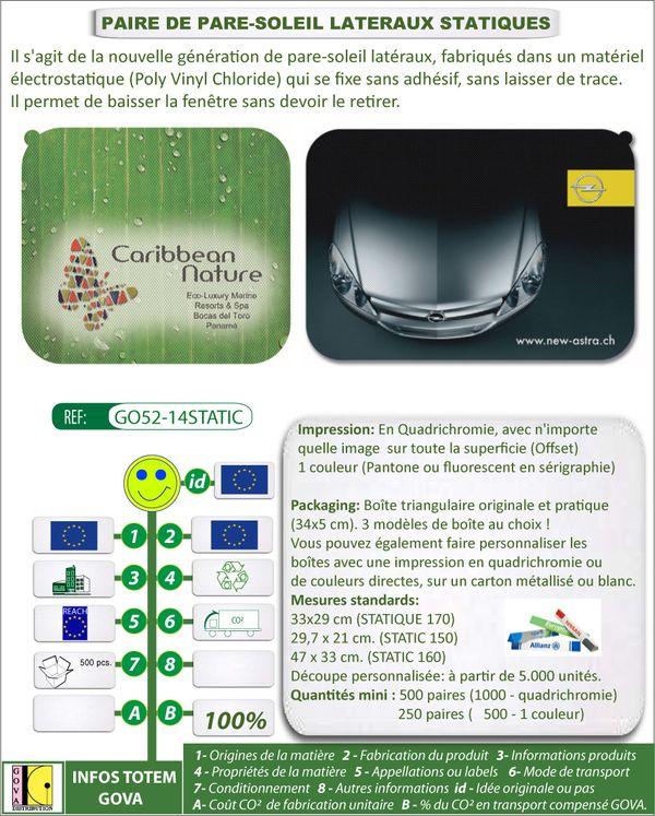 Pare-soleil lateraux statiques publicitaires GO52 14STATIC