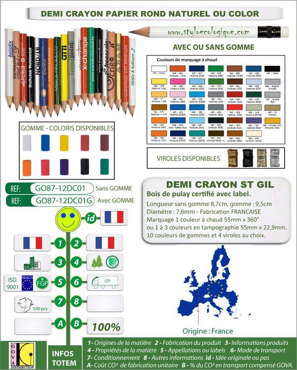 Demi-crayon papier St Gil bois avec label GO87 12DC01