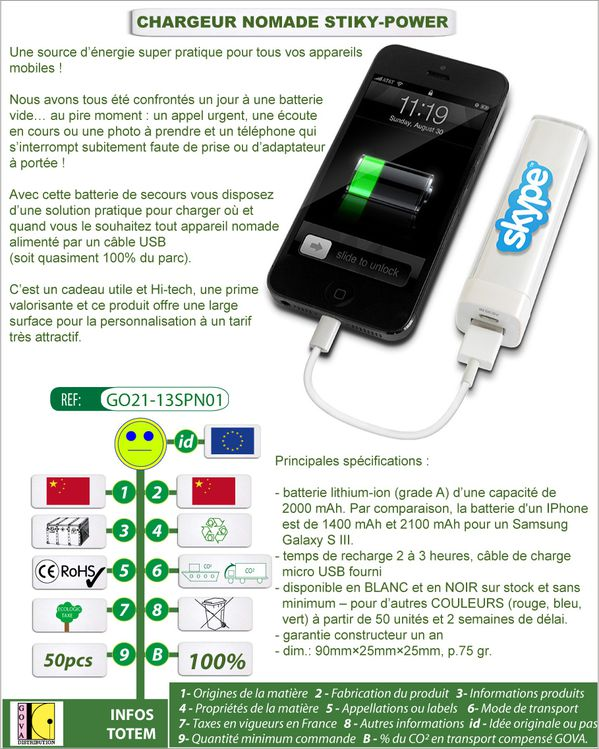 Chargeur nomade STIKY-POWER pour telephone mobile GO21 13SP