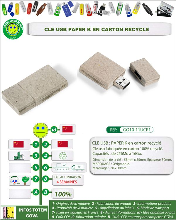 Clé usb en papier recyclé GO10-11UCR1