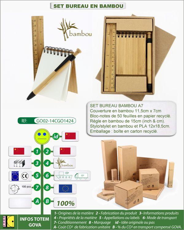 SET de bureau en bambou bloc-notes regle 15cm stylo-stylet
