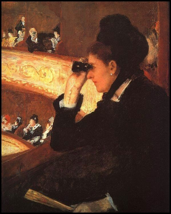 Mary Cassatt - Femme en noir au thtre-copie-1