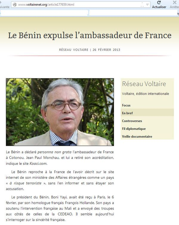 Expulsion Ambassadeur France Bénin