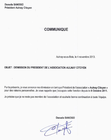 lettre de demission association vice president associations   Aulnaylibre ! lettre de demission association vice president