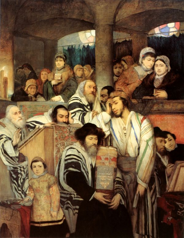 gottlieb juif priant synagogue yom kippour
