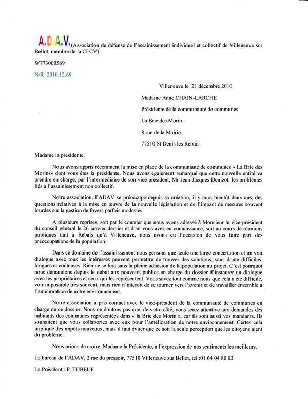 adav et lettre à la présidente de la com.com