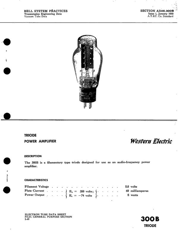 Western Electric 300B Data sheet 1950 - kendall alex