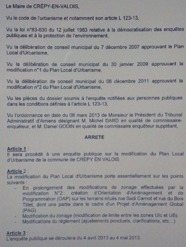 Crépy - Arrêté modification n°3 PLU
