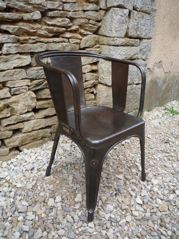 fauteuil tolix 39 d 39 acier brosse canon 1930 mettetal industry design industriel du 20eme siecle. Black Bedroom Furniture Sets. Home Design Ideas
