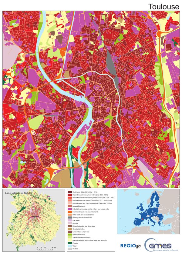 Copernicus Land - Urban Atlas - Toulouse - Centre - REGIOgi